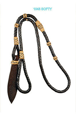 """Western Softy Braided Over Under Whip with Leather Popper 50"""" Long"""