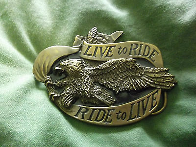 live to ride ,ride to live brass belt buckle   made in usa
