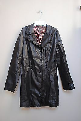 Women's size S/M Solitaire  by Ravikhosla Black Pleather Coat Jacket Long nobelt