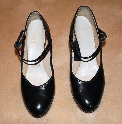 Leo's Black Leather Character Ballroom Tap Shoes With Super Taps