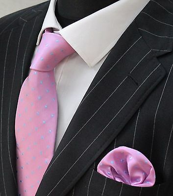 Tie Neck tie with Handkerchief Pink with Blue Spot