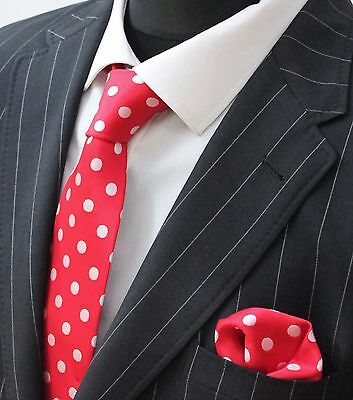 Men's Tie & Handkerchief Set Red with White Spot LUC171