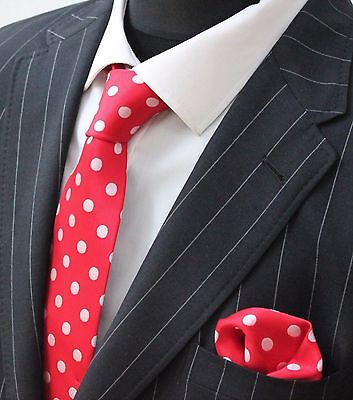 Tie Neck tie with Handkerchief Red with White Spot