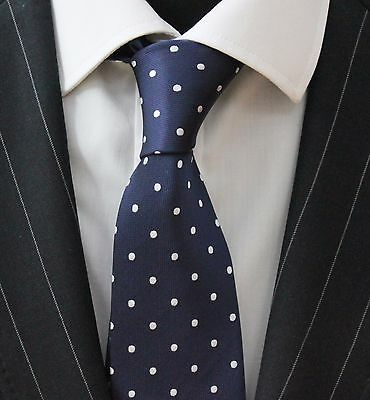 Tie Neck tie with Handkerchief Dark Blue with Silvery White Spot