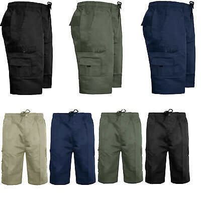 Mens Plain Elasticated Shorts Cargo Combat Summer Holiday Casual Pant Cotton New