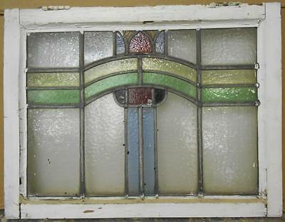 "MID SIZED OLD ENGLISH LEADED STAINED GLASS WINDOW Nice Abstract 24.5"" x 18.75"""
