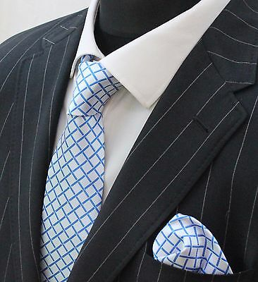 Tie Neck tie with Handkerchief White with blue crossed stripes