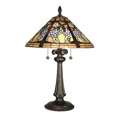 """Table Lamp 2 Light Stained Cut Glass Tiffany Victorian Styl Handcrafted 17""""W26""""H"""
