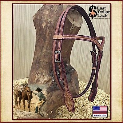 Western Headstall ~ Russet Leather Contoured 'v' Brow With Floral & Corn Tooling