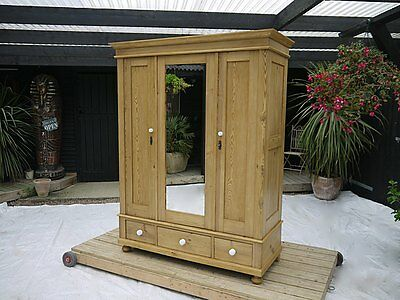 Stunning! Beautiful Large & Quality Old Antique Pine Triple Knock Down Wardrobe