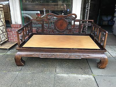 Antique Chinese Opium Bed Carved with Celestial Clouds of Harmony