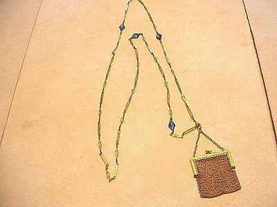 Wonderful German Silver Chain Link Gold Gilded Change Purse Marked MJ Co.
