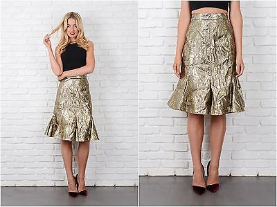 Vintage 80s Gold Lame Skirt High Waist Floral Glam Retro Small S