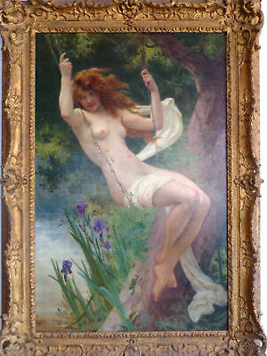 """Guillaume Seignac """"The Swing"""" Oil on Canvas Painting Signed 19th Century FRAMED"""