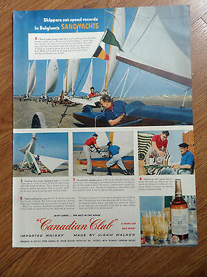 1954 Canadian Club Whiskey Ad  Belgium's Sand Yachts Sailing De Panne