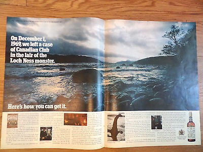 1970 Canadian Club Whiskey Ad Case of CC Left in Lair of the Loch Ness Monster