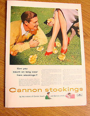 1953 Cannon Stockings Nylons Ad Can You Count on Long Wear from Stickings?