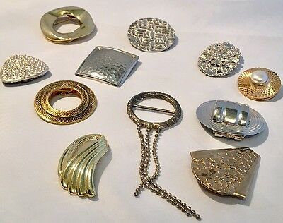 Vintage Jewelry Lot Scarf Clips & Slides Wear Or Repurpose