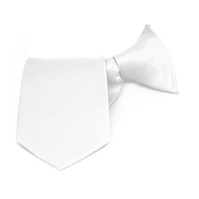 Boys' WHITE Solid Color Clip-On Tie: 8, 11, or 14 Inch Length