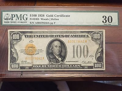 1928 $100 Gold Certificate PMG VF 30 / Nice Note ! / No Qualifiers