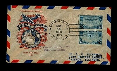 Scott# C20 25cent China Clipper 11/22/1935 WashingtonDC Cachet Typed Address FDC