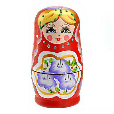 Beautiful Wooden Russian Nesting Dolls Matryoshka Doll Set - 5 pcs/set Red M4Q1