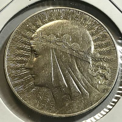Poland 1933 Silver 10 Zlotych Much Better Grade Crown Coin