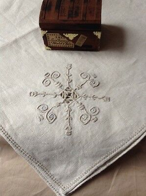 Vintage Antique Lefkara Lace  Embroidered  Linen  Tablecloth  34 By 35 Unused