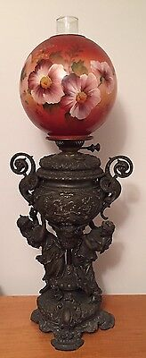 Extremely Rare Antique Victorian Bradley & Hubbard Figural Oil Lamp