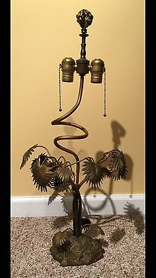Vintage Brass Plant Table Lamp Mid Century Modern Antique