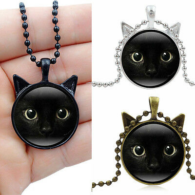Long Chain Vintage Necklace Cabochon Glass Cat Face Pendant Steampunk Cat