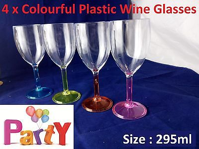 4Pcs Plastic Wine and Cocktail Glasses  Drinking Glass Bulk Clear Reusable