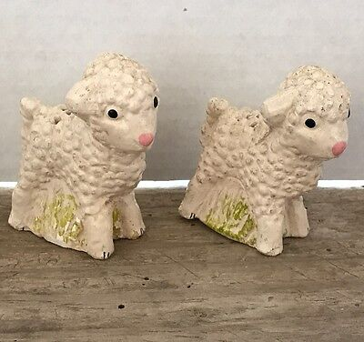 Vintage Baby Lamb Chalkware Salt and Pepper Shakers