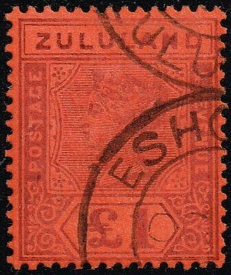 Zululand 1894-96 £1 purple / red, used (SG#28) certified