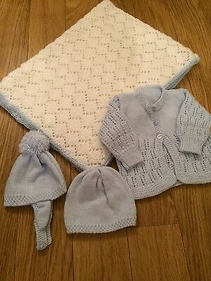 NEW beautiful blue hand knitted baby set