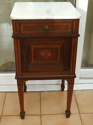 Antique 19th Century Marble Topped Inlaid Hall/Bathroom/Bedside Cabinet