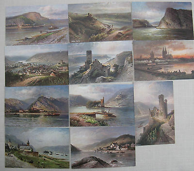 Postcards: Germany. 11 Colour postcards of the Rhine. Unused.jh