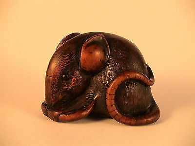 Late 18th/Early 19th Century Wooden Netsuke Of A Mouse/ Rat Grasping A Bean Pod