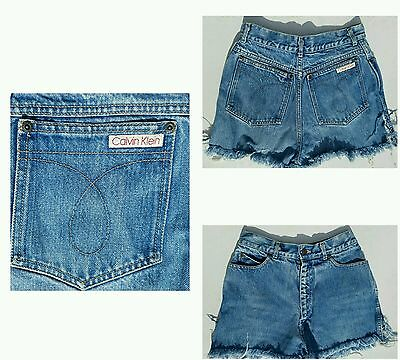 Vintage Calvin Klein High Waist Denim Jean Shorts Raw Edge Womens Size 10 1970s
