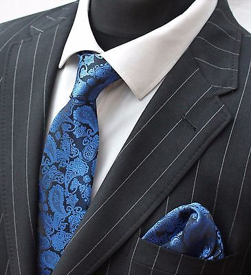 Tie Neck tie with Handkerchief Black with Electric Blue Paisley