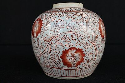 19th century Chinese Iron red pot with floral decoration