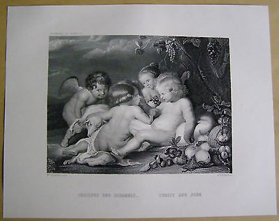 Christus und Johannes Christ and John  P.P.Rubens Engraving  Stahlstich 1877