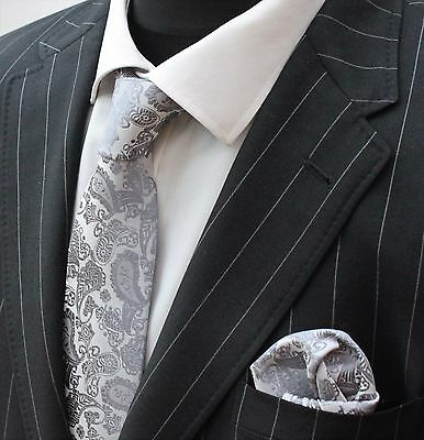 Tie Neck tie with Handkerchief Silver Grey Paisley