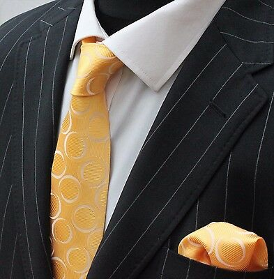 Tie Neck tie with Handkerchief Yellow with white circle