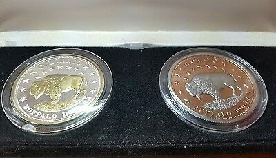 LOT OF 2 SET COLORADO BUFFALO DOLLOR COMMEMORATIVE COIN CASE HOLDER gold silver
