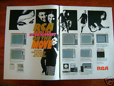 1968 RCA TV Television Ad On the Move New Portables