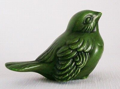 "Charming Little Vintage Bird Figurine Green Ceramic 2.5"" Tall"