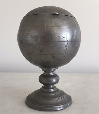 Antique Chinese  Pewter HUIKEE SWATOW World Globe Tea Caddy Tobacco Canister