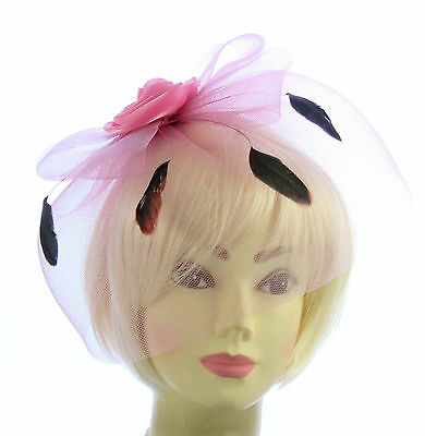 Pink  fascinator hat with veil and feather headband, Weddings, Races, Ladies Day