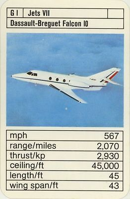 Single Vintage Game Card: Dassault-Breguet Falcon 10. Jet Aeroplane.